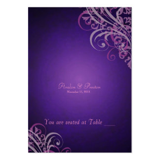 Exquisite Baroque Pink & Purple Scroll Placecard Large Business Cards (Pack Of 100)