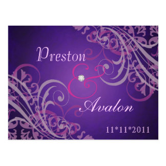 Exquisite Baroque Pink Save The Date Postcard
