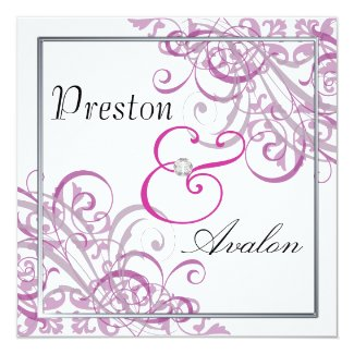 "Exquisite Baroque Pink Scroll B&W Invitation 5.25"" Square Invitation Card"