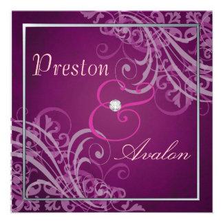 Exquisite Baroque Pink Scroll  Invitation