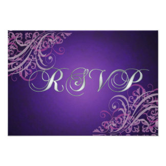 Exquisite Baroque Pink Scroll RSVP Card Invitation