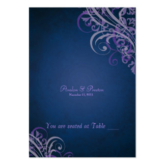 Exquisite Baroque Purple & Blue Scroll Placecard Large Business Cards (Pack Of 100)