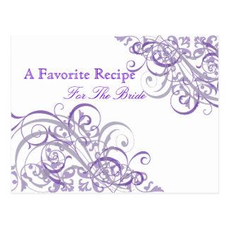 Exquisite Baroque Purple Bridal Shower Recipe Card