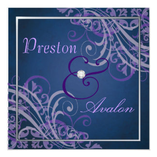 Exquisite Baroque Purple Scroll Blue  Invitation