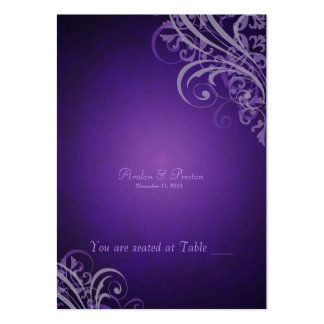 Exquisite Baroque Purple Scroll Placecard Large Business Cards (Pack Of 100)