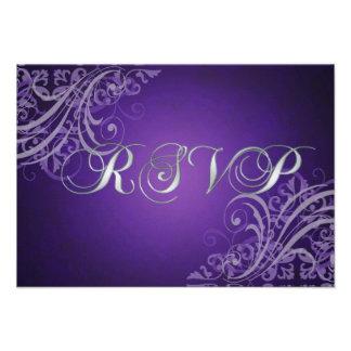 Exquisite Baroque Purple Scroll RSVP Card Custom Invitation