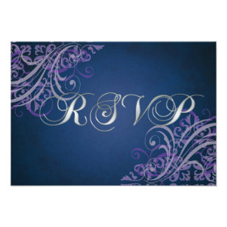 Exquisite Baroque Purple Scroll RSVP Card Personalized Announcements