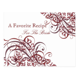 Exquisite Baroque Red Bridal Shower Recipe Card