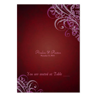 Exquisite Baroque Red & Pink Scroll Placecard Large Business Cards (Pack Of 100)