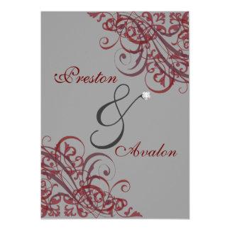 Exquisite Baroque Red Scroll 5x7 Invitation