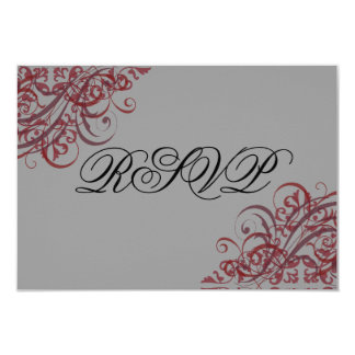 Exquisite Baroque Red Scroll RSVP Card
