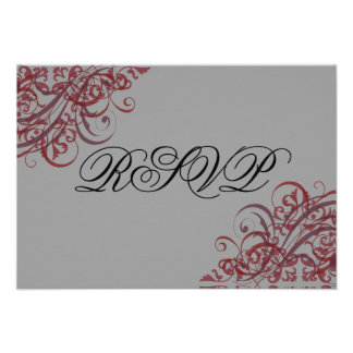 Exquisite Baroque Red Scroll RSVP Card Personalized Announcement