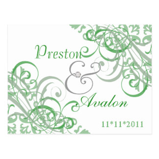 Exquisite Baroque  Save The Date Green Postcard