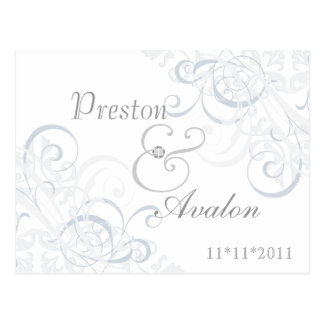 Exquisite Baroque Save The Date Silver Postcard