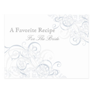 Exquisite Baroque Silver Bridal Shower Recipe Card