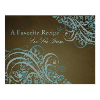 Exquisite Baroque Teal Bridal Shower Recipe Card