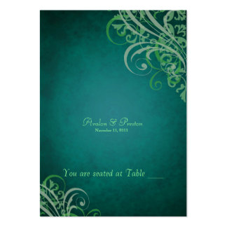 Exquisite Baroque Teal & Green Scroll Placecard Large Business Cards (Pack Of 100)