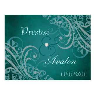 Exquisite Baroque Teal Save The Date Teal Postcard