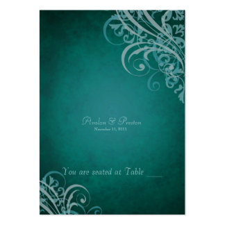 Exquisite Baroque Teal Scroll Placecard Large Business Cards (Pack Of 100)