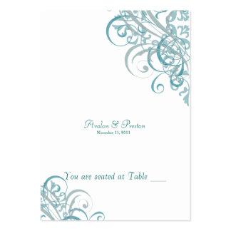 Exquisite Baroque Teal & White Scroll Placecard Large Business Cards (Pack Of 100)