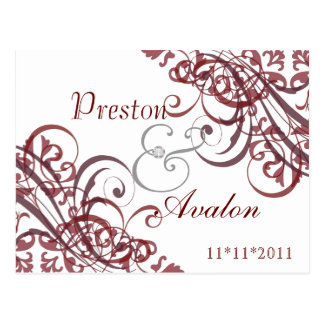 Exquisite Baroque White Save The Date Red Postcard