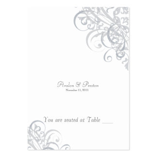 Exquisite Baroque White & Silver Scroll Placecard Large Business Cards (Pack Of 100)