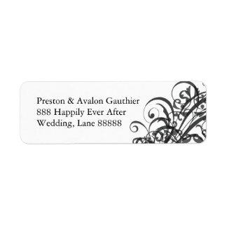 Exquisite Black Scroll White Wedding Address Label