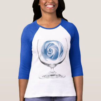 Exquisite blue rose in a glass, t-shirt