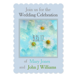 exquisite butterfly & daisy custom wedding custom announcement