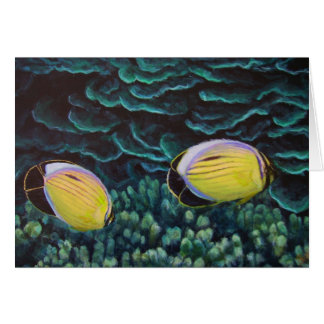 exquisite butterfly fish in coral card
