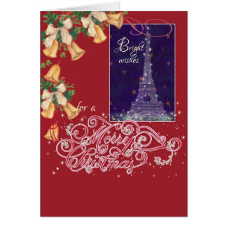 Exquisite  Eiffel tower christmas greeting Card