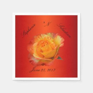 Exquisite Flaming Orange N Yellow Rose Napkin