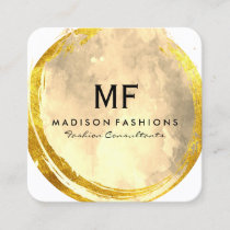 Exquisite Gold Brushed Watercolor with Monogram Square Business Card