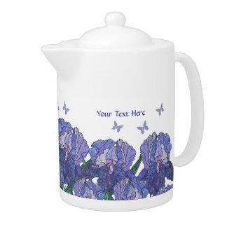 Exquisite Iris Blossoms Customizable Tea Pot #4