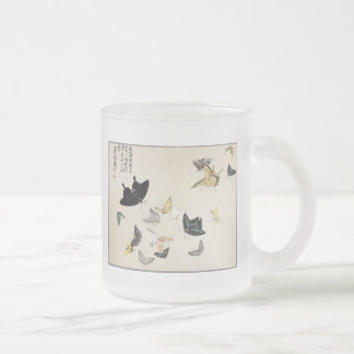 Exquisite Japanese Butterflies by Mori Shunkei Frosted Glass Coffee Mug