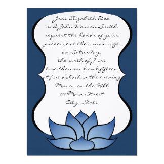 Exquisite Lotus in Blue Wedding Invitation