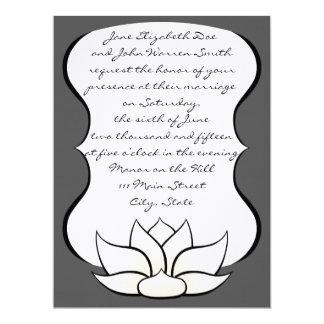 Exquisite Lotus in Pewter and White Invitation