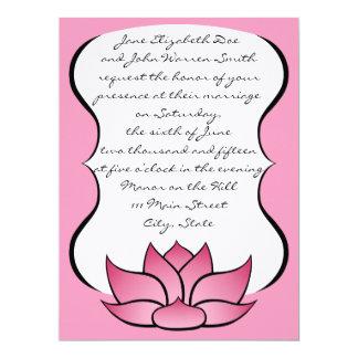 Exquisite Lotus in Pink Wedding Invitation