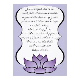 Exquisite Lotus in Purple Wedding Invitation