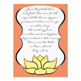 Exquisite Lotus in Sun Kissed Wedding Invitation