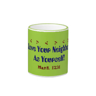 Exquisite mug with verse Love your neighbor!
