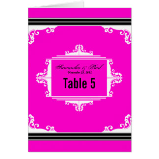 Exquisite Pink Black and White Table Number Cards
