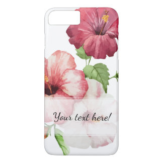 Exquisite Rose Red Watercolor Hibiscus iPhone 8 Plus/7 Plus Case