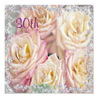 Exquisite Roses & Diamonds 30th Birthday Card