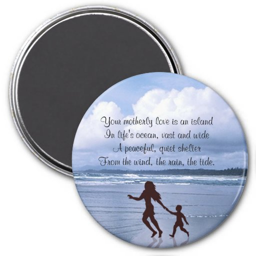 Exquisite Silhouette of Mother & Son at the Beach Fridge Magnets