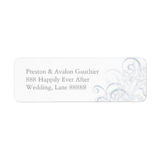 Exquisite Silve Scroll White Wedding Address Label