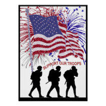 Exquisite Support Our Troops Three Soldier Poster