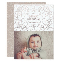 Exquisite Swirls in Bronze Christmas Holiday Card