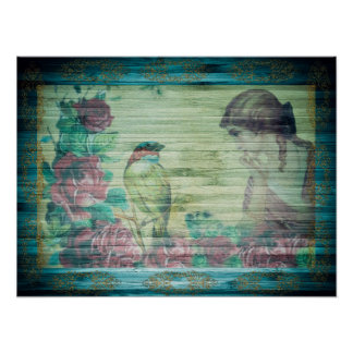 Exquisite Vintage Shabby Chic Vintage Lady & Bird Poster