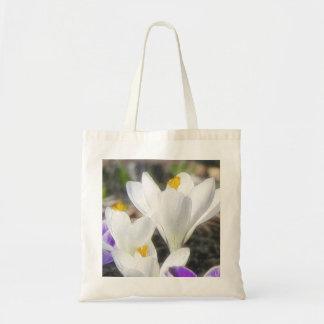 Exquisite White Crocuses Canvas Bags
